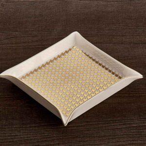 Vuotatasca quadrato 18x18cm decoro oro