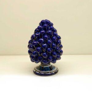 Pigna montata a mano in ceramica decoro blu