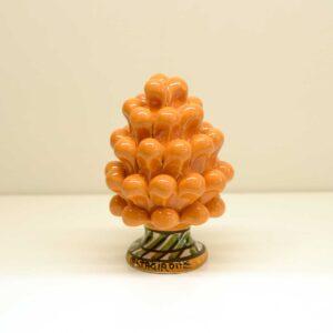 Pigna montata a mano in ceramica decoro arancio