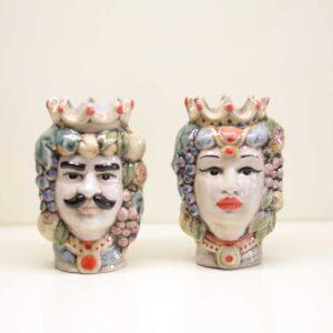 Coppia Teste di moro in ceramica, decorazione vintage a mano