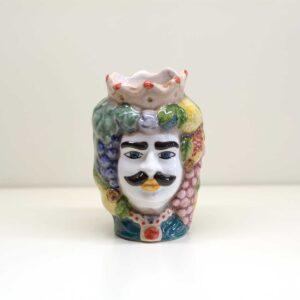 Testa di moro bifaccia in ceramica. Decoro vintage.