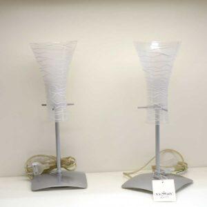 Coppia lampade abat jour con paralume decorato