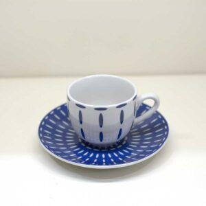Confezione 6 tazzine da caffè on piattino decoro Havana Blue