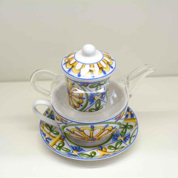 Teiera con tazza e piatto completa di filtro per tisane