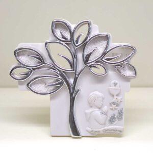 Bomboniera quadretto comunione bambino con albero della vita