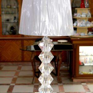 Lampada Eloise in cristallo ottico con paralume grigio
