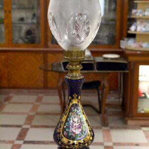 """Lampada stile antico """"Petrolio"""" decorata a mano e firmata"""