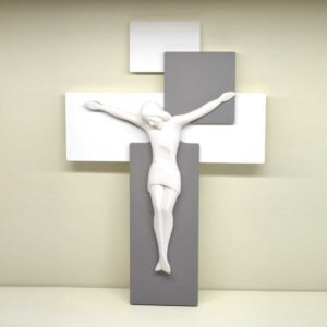 Capezzale Cristo in legno e resina porcellanata