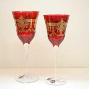 Servizio calici 24 pezzi Rosso Antico inciso e decorato oro