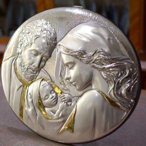 Capezzale pannello Sacra Famiglia in argento