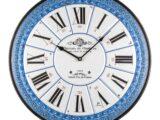 Orologio da parete Lowell decoro stile impero blu