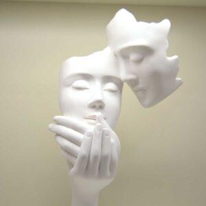 Scultura Coppia Face Bianco