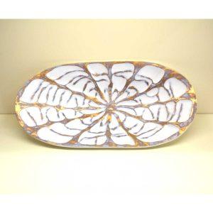 Centro tavola decoro bianco e oro Antigua