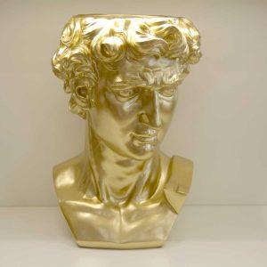 Busto David porta piante decorato oro
